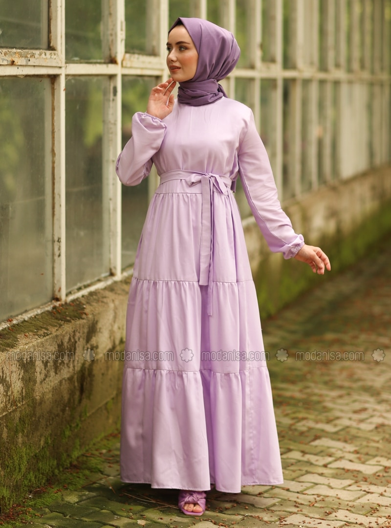 Lilac - Lilac - Crew neck - Unlined - Cotton - Dress
