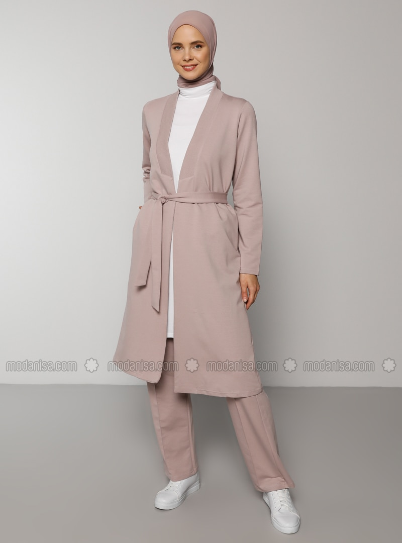 Pink -  - V neck Collar - Tracksuit Set