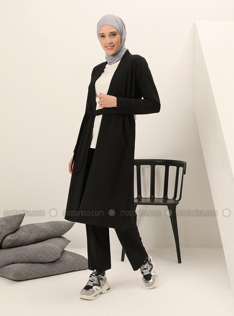 Black -  - V neck Collar - Tracksuit Set
