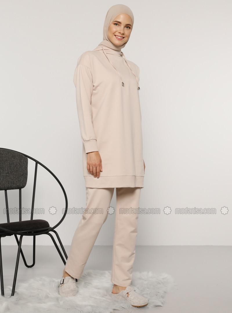 Beige - Unlined -  - Suit
