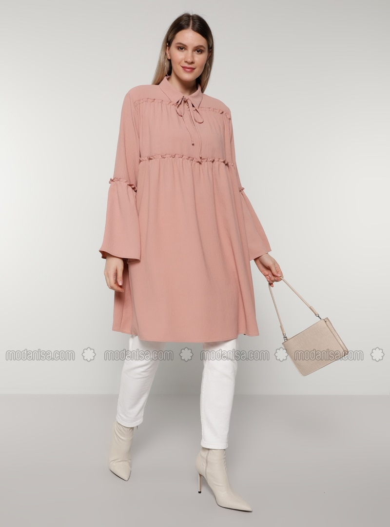Dusty Rose - Point Collar - Plus Size Tunic