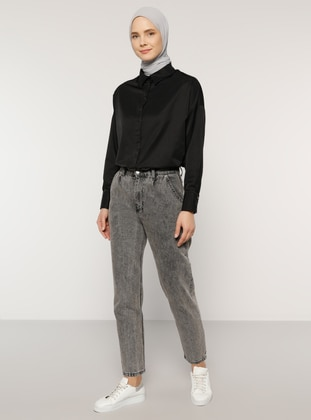 Black - Point Collar -  - Blouses