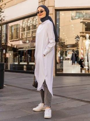 White - White - Point Collar - Cotton - Tunic - Everyday Basic