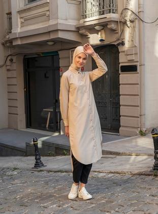 Beige - Camel - Point Collar - Cotton - Tunic - Everyday Basic