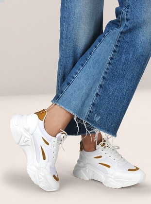 White - Mustard - Sport - Sports Shoes