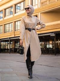 Beige - Camel - Point Collar -  - Tunic