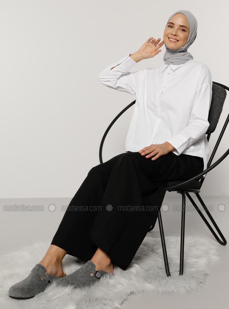 White - Point Collar -  - Blouses
