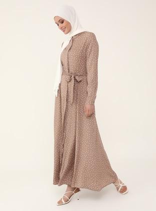 Natural Fabric Belted Shirt Dress - Mink - Woman