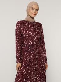 Plum - Polka Dot - Point Collar - Unlined - Viscose - Dress