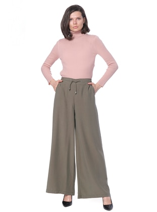 Khaki - Lyocell - Pants