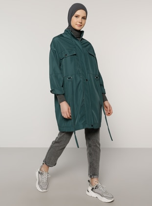 Green - Unlined - Polo neck - Topcoat