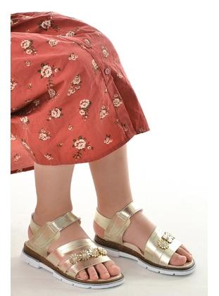 Gold - Girls` Sandals - Şirin Bebe