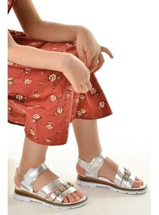 Silver tone - Girls` Sandals - Şirin Bebe