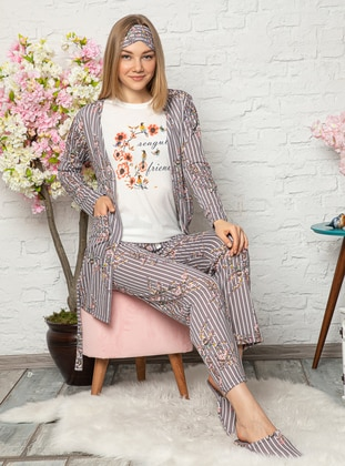 Mink - Crew neck - Multi - Cotton - Pyjama Set - Fawn