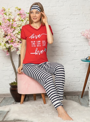 Red - V neck Collar - Stripe -  - Pyjama Set