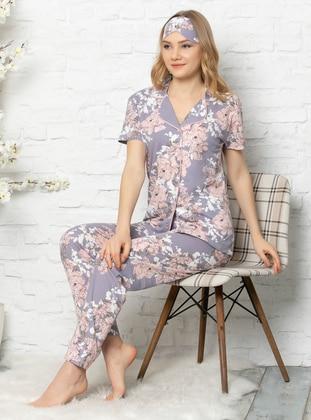 Lilac - Shawl Collar - Multi -  - Pyjama Set