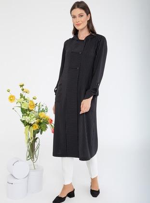 Black - Stripe - Unlined - Viscose - Topcoat