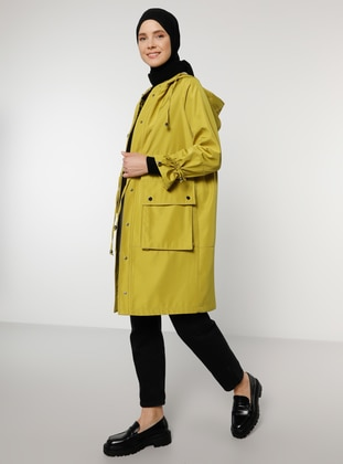Olive Green - Unlined - Trench Coat - Benin