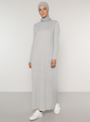 Gray - Gray - Crew neck - Unlined - Cotton - Modest Dress