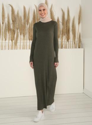 Khaki - Crew neck - Unlined -  -  - Dress