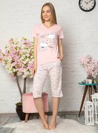 Pink - V neck Collar - Multi -  - Pyjama Set