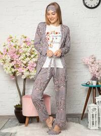 Mink - Crew neck - Multi - Cotton - Pyjama Set