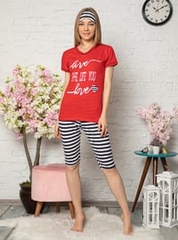 Red - V neck Collar - Stripe - Cotton - Pyjama Set