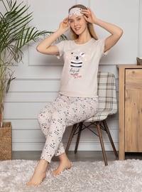 Beige - Crew neck - Multi - Cotton - Pyjama Set