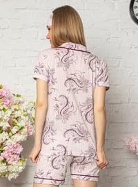 Purple - Shawl Collar - Multi - Cotton - Pyjama Set