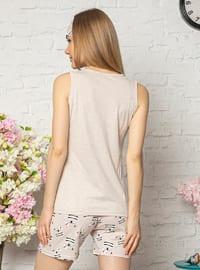 Beige - Cotton - Pyjama Set