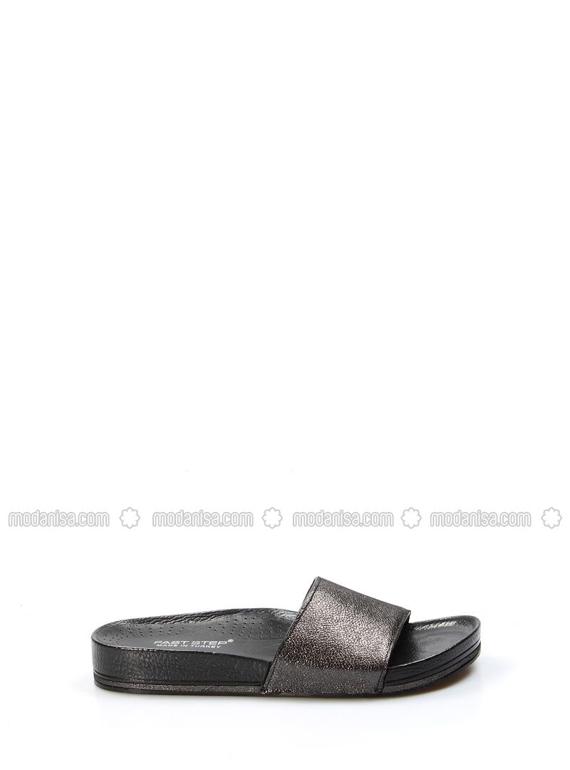 Anthracite - Metallic - Sandal - Slippers