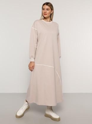 Ecru - Powder - Unlined - Crew neck -  - Plus Size Dress