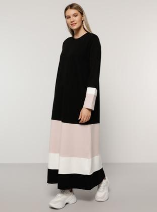 Ecru - Powder - Black - Unlined - Crew neck -  - Plus Size Dress