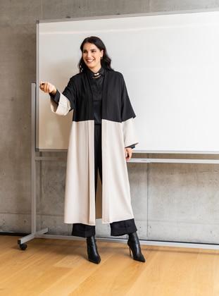 Black - Stone - Unlined - Plus Size Coat - Alia