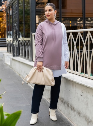 Oversize Hooded Garni Tunic - Dusty Lilac White