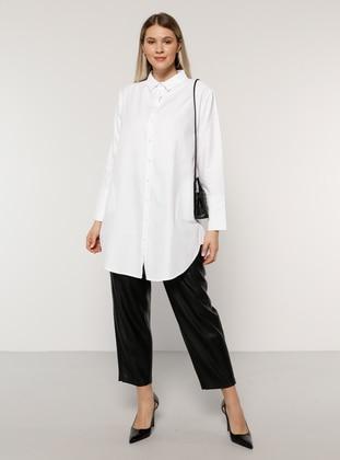 White - Ecru - Point Collar -  - Plus Size Tunic - Alia