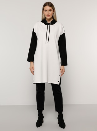 White - Ecru - Black -  - Plus Size Tunic