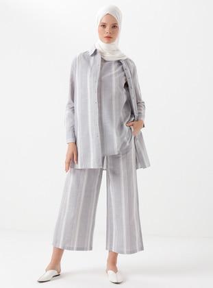 Gray - Stripe -  - Pants