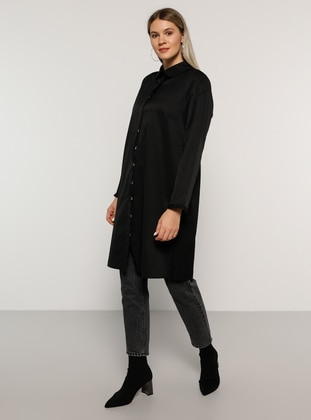Black - Round Collar -  - Plus Size Tunic