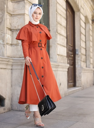 Terra Cotta - Unlined - Point Collar -  - Trench Coat