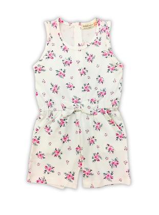 White - Floral - Crew neck -  - Girls` Salopettes & Jumpsuits