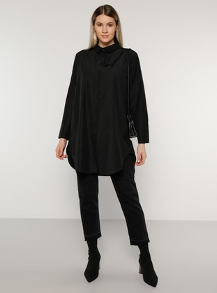Black - Point Collar -  - Plus Size Tunic - Alia