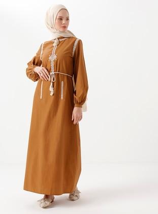 Camel - Unlined -  - Dress