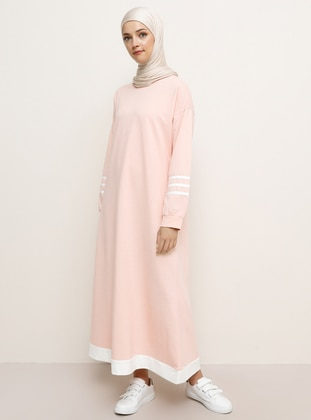 Pink - Crew neck - Unlined -  - Dress