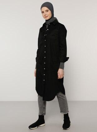 Black - Point Collar - Denim -  - Tunic