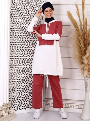 White - Dusty Rose - Unlined - Viscose - Suit