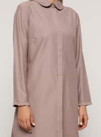 Lilac - Round Collar -  - Plus Size Tunic