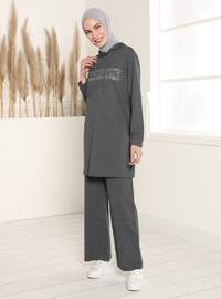 Hooded Printed Tracksuit Set - Anthracite
