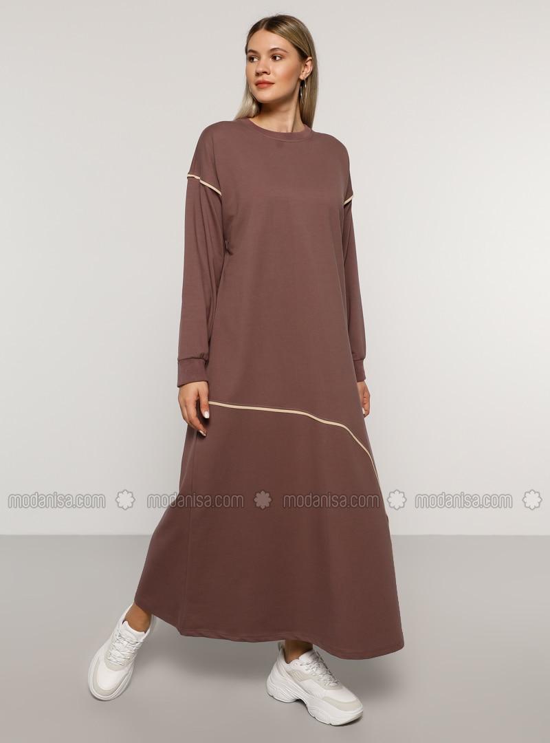 Purple - Unlined - Crew neck -  - Plus Size Dress