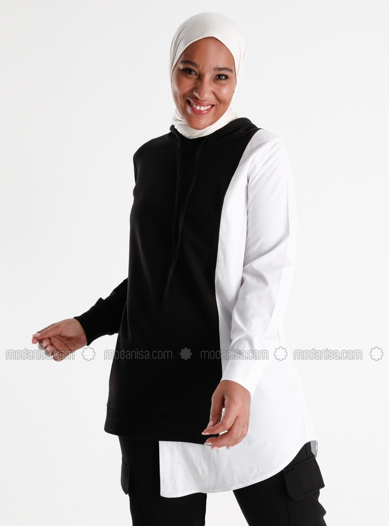 Oversize Hooded Garni Tunic - Black White